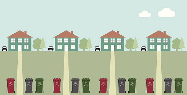 Recycling collection day Houses along street with recycling wheelie bins driveway stock illustrations