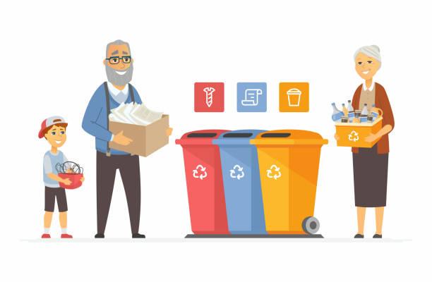 ilustraciones, imágenes clip art, dibujos animados e iconos de stock de concepto de reciclaje-personajes de dibujos animados modernos - nieto
