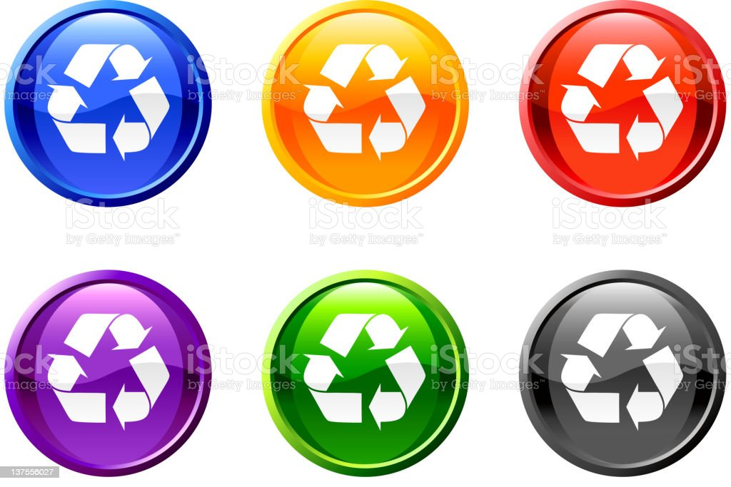 recycling conservation royalty free vector art button set royalty-free stock vector art