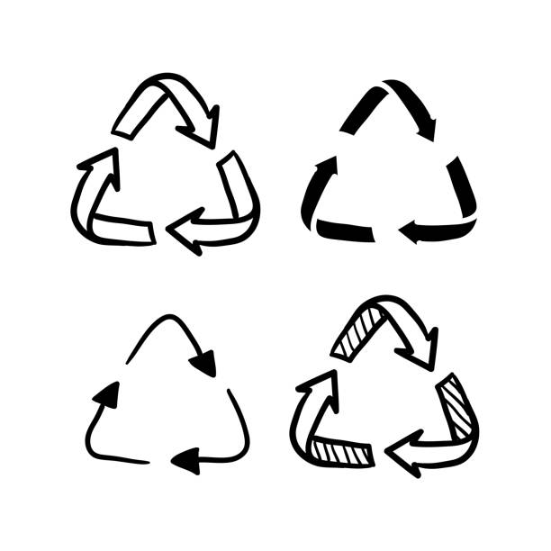 recycling doodle icon symbol illustration isolated on white recycling doodle icon symbol illustration isolated on white recycling symbol stock illustrations