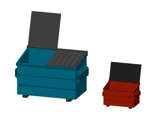 stockillustraties, clipart, cartoons en iconen met recycling dumpster. geïsoleerd op een witte achtergrond. 3d-vectorillustratie. dimetric projectie. - container