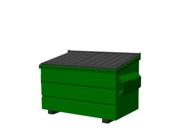stockillustraties, clipart, cartoons en iconen met recycling dumpster. geïsoleerd op een witte achtergrond. 3d-vectorillustratie. - container