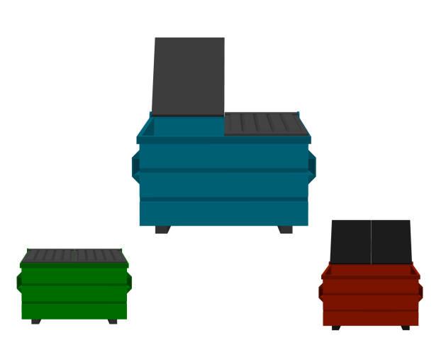 stockillustraties, clipart, cartoons en iconen met recycling dumpster instellen. geïsoleerd op witte background.3d vectorillustratie. - container