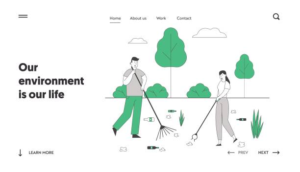 Recycling Ecology Protection Website Landing Page. Man and Woman Removing Trash from Ground Cleaning Earth with Rakes. People Saving Planet Web Page Banner. Cartoon Flat Vector Illustration, Line Art Recycling Ecology Protection Website Landing Page. Man and Woman Removing Trash from Ground Cleaning Earth with Rakes. People Saving Planet Web Page Banner. Cartoon Flat Vector Illustration, Line Art plastic pollution stock illustrations