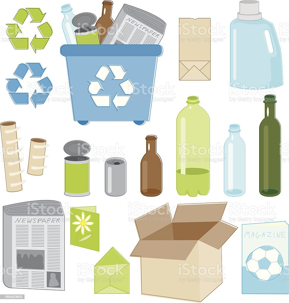 Recycling Essentials vector art illustration