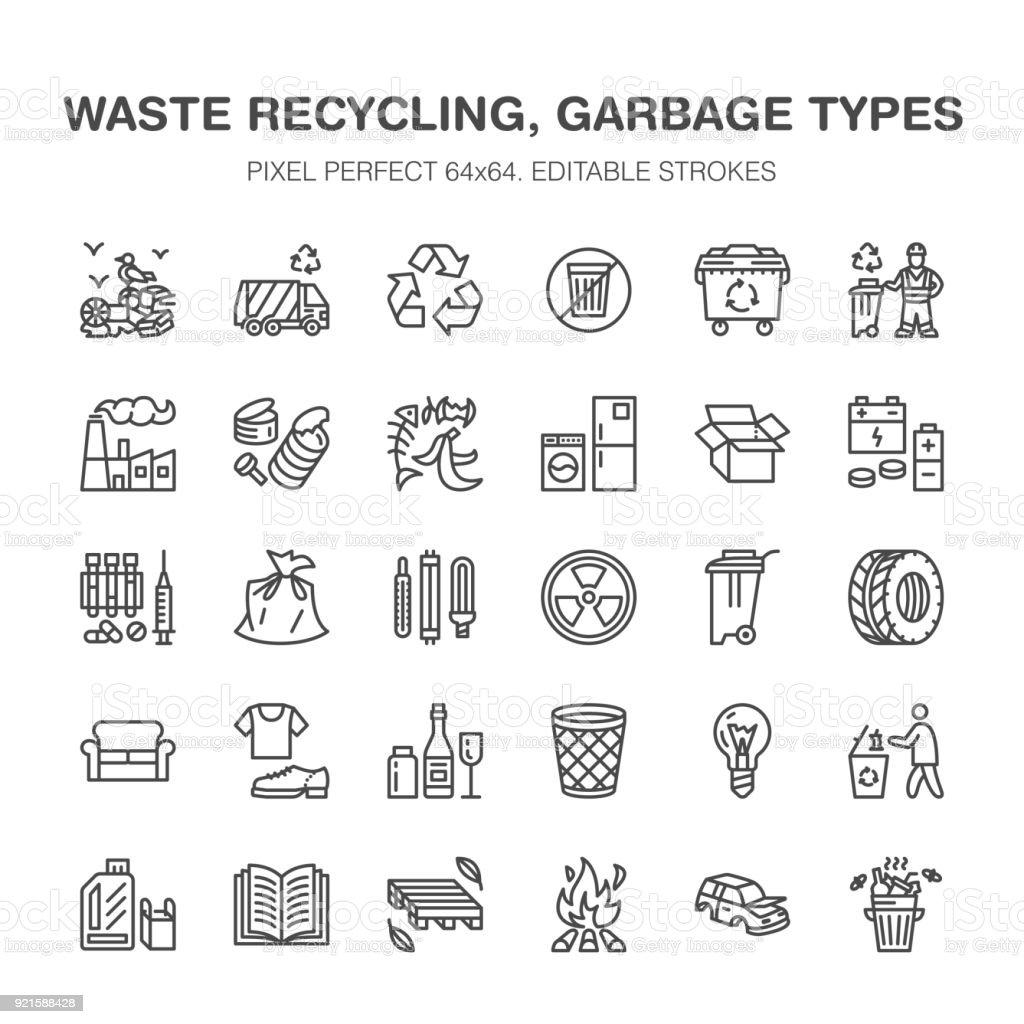 Reciclaje de los iconos de línea plana. Contaminación, planta de reciclaje. Basura clasificación tipos - papel, vidrio, plástico, metal, basura inflamable. Signos lineales finos para gestión de residuos. Pixel perfecto 64 x 64 - ilustración de arte vectorial