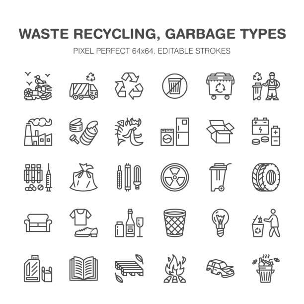 illustrations, cliparts, dessins animés et icônes de recyclage des icônes ligne plate. pollution, usine de recyclage. poubelle de tri types - papier, verre, plastique, métal, déchets inflammables. signes de linéaires minces pour la gestion des déchets. pixel perfect 64 x 64 - dechets