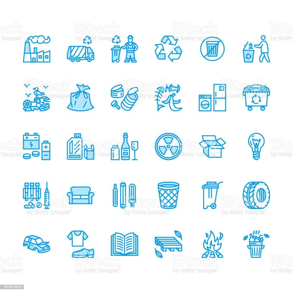 Recyclingflache Linie Symbole Verschmutzung Recyclinganlage Müll ...