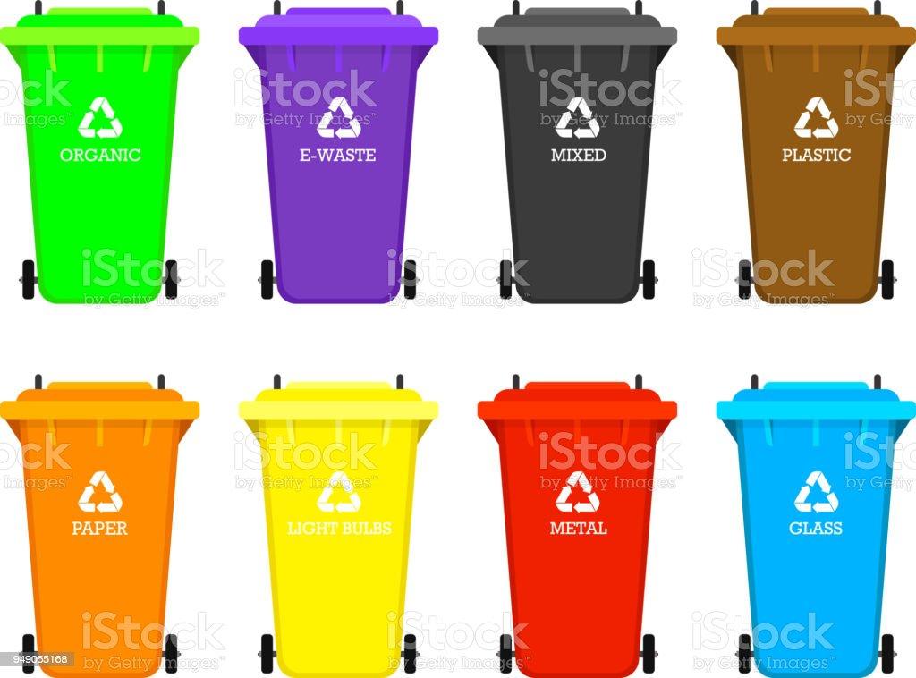 Ilustración de Elementos De La Basura De Reciclaje Bolsa O Envases O ...