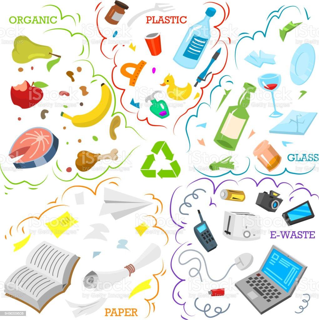 Ilustración de Elementos De La Basura De Reciclaje Clasificación Y ...