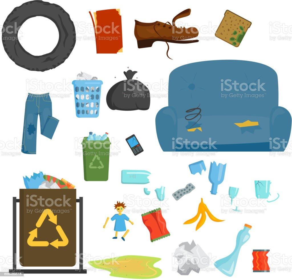 Ilustración de Reciclaje Basura Elementos Basura Bolsas Llantas ...