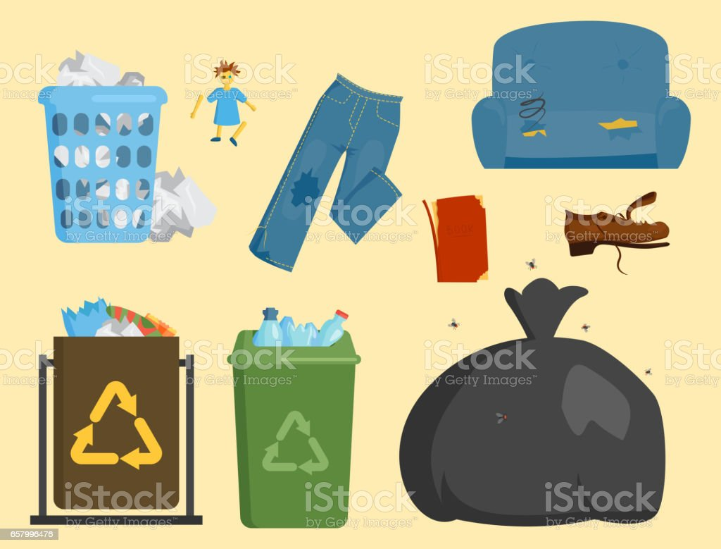 Recycling garbage elements trash bags tires management industry utilize concept and waste ecology can bottle recycling disposal box vector illustration vector art illustration