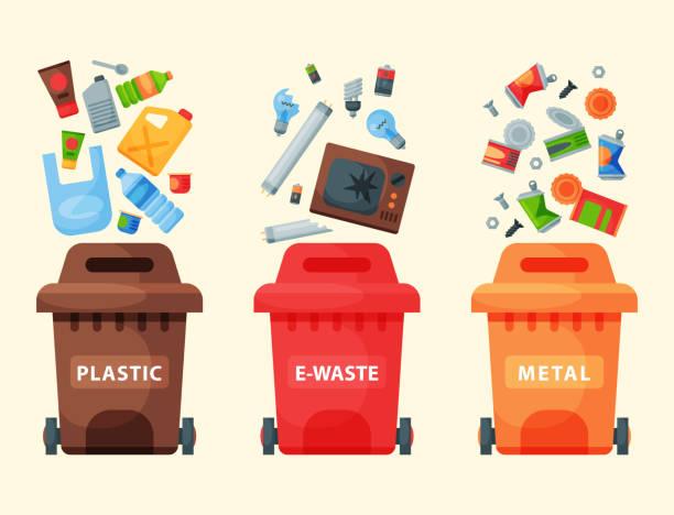 ilustrações de stock, clip art, desenhos animados e ícones de recycling garbage elements trash bags tires management industry utilize waste can vector illustration - box separate life