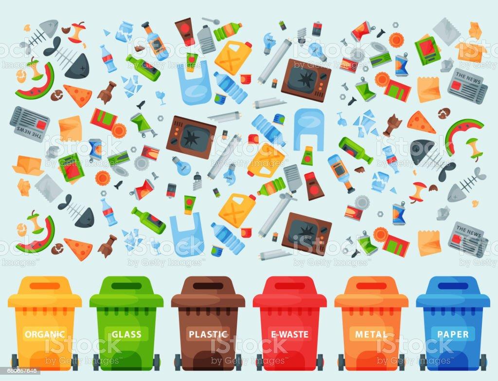 Bolsas de reciclaje basura elementos neumáticos utilizar la industria de la gestión residuos pueden vector ilustración - ilustración de arte vectorial