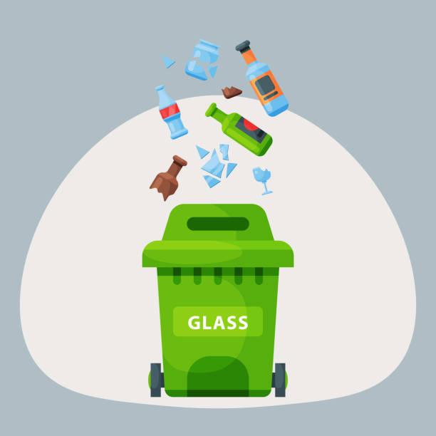 ilustrações de stock, clip art, desenhos animados e ícones de recycling garbage glass trash bag tires management industry utilize waste can vector illustration - box separate life
