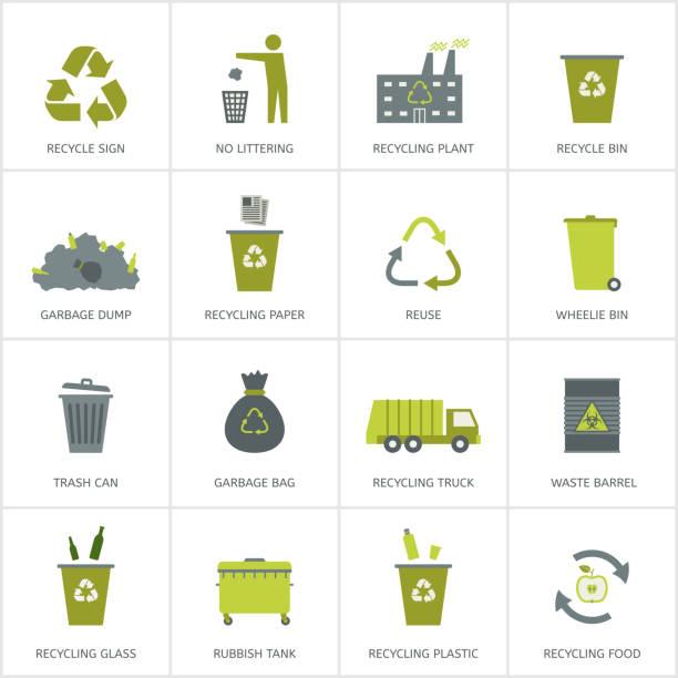 illustrations, cliparts, dessins animés et icônes de recyclage ordures icônes set - recyclage