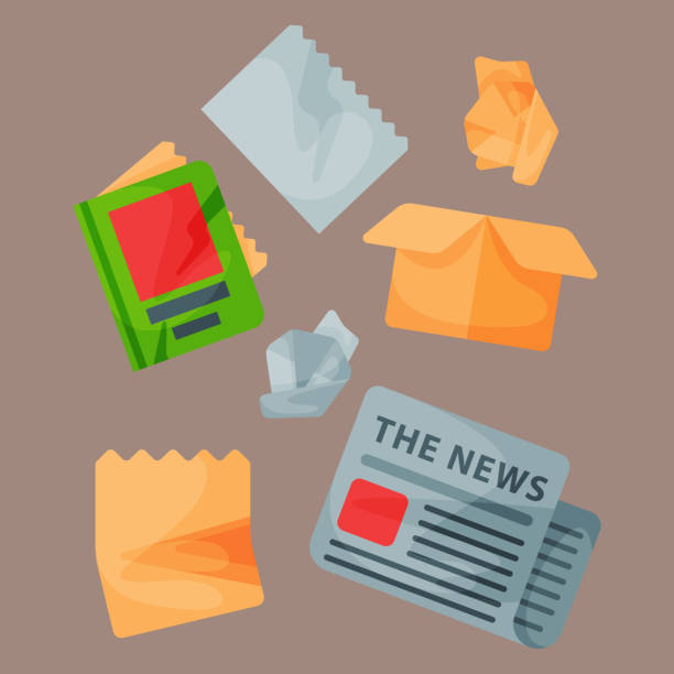 ilustrações de stock, clip art, desenhos animados e ícones de recycling garbage paper elements trash tires management industry utilize waste can vector illustration - box separate life