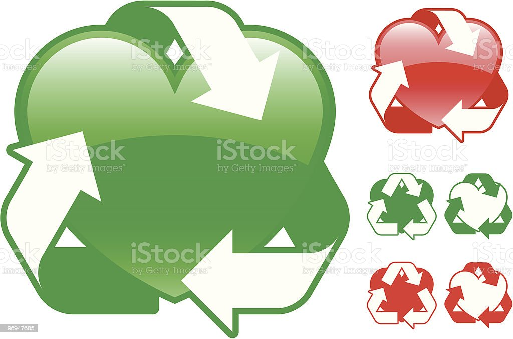 Recycling heart icon collection - vector royalty-free recycling heart icon collection vector stock vector art & more images of arrow symbol