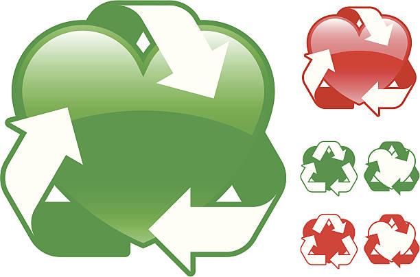 bildbanksillustrationer, clip art samt tecknat material och ikoner med recycling heart icon collection - vector - recycling heart