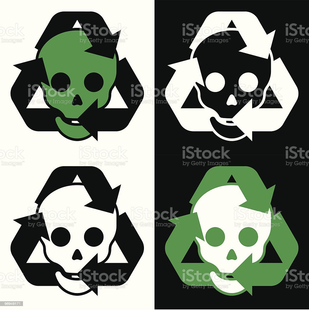 Recycling icon collection with skulls royalty-free recycling icon collection with skulls stock vector art & more images of arrow symbol