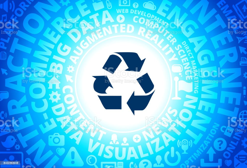 Recycling Icon on Internet Modern Technology Words Background vector art illustration