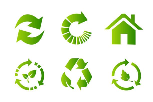 ilustrações de stock, clip art, desenhos animados e ícones de recycling icon set - circular economy