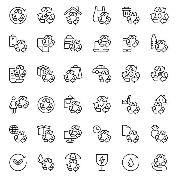recycling icon set - composting stock illustrations