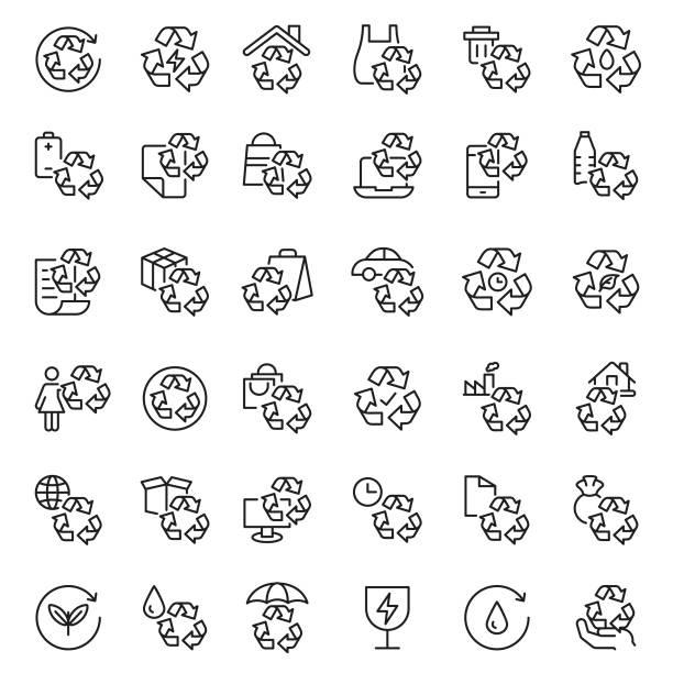 illustrazioni stock, clip art, cartoni animati e icone di tendenza di recycling icon set - composting