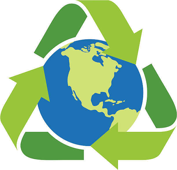 Recycling icon surrounding the earth vector art illustration