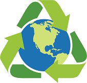 Recycling icon surrounding the earth