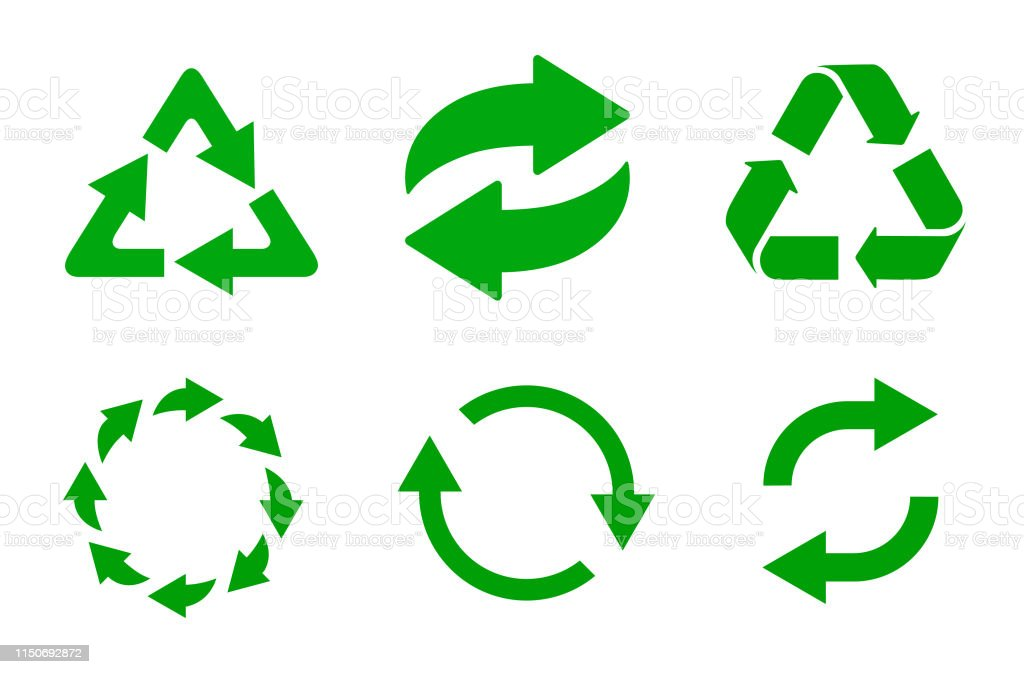 Recycling icon vector set. Arrow recycle, refresh - collection...