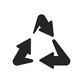 Recycling icon vector sign and symbol isolated on white background, Recycling logo concept