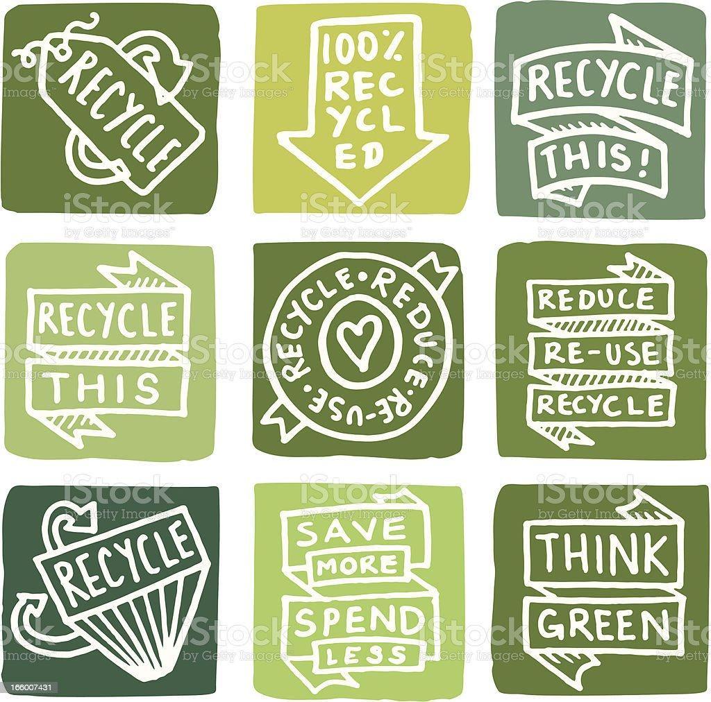 Recycling symbol Symbol block set – Vektorgrafik