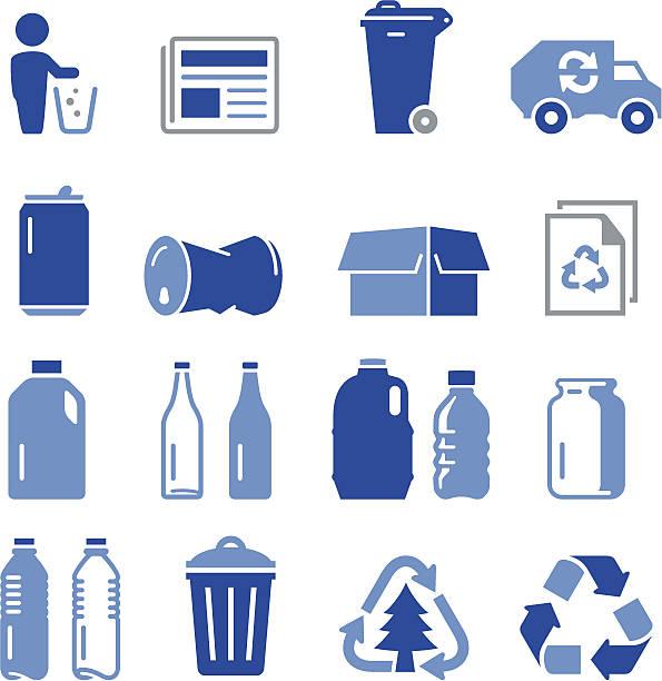 recyklingu ikony-seria pro - karton tworzywo stock illustrations