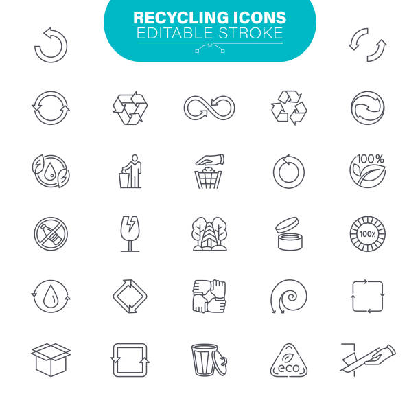Recycling Icons. Set contains such icon as Package, Plastic, Organic Waste, Bottle, Ecosystem, Outline, Illustration vector art illustration