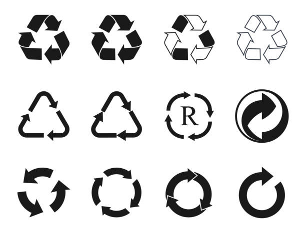 recycling icons set, recycled cycle arrows symbol recycle icons and recycling signs set, trash symbol recycling symbol stock illustrations