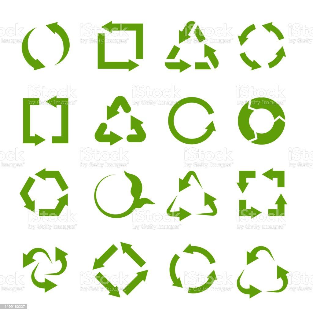 Recycling icons. Various green circle arrow symbols. Waste reuse...