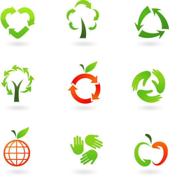 bildbanksillustrationer, clip art samt tecknat material och ikoner med recycling icons - recycling heart