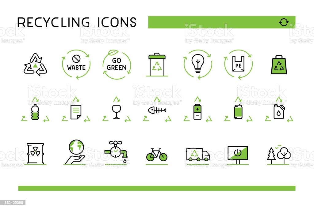 Reciclar los iconos - ilustración de arte vectorial