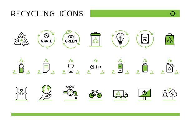 ilustrações, clipart, desenhos animados e ícones de ícones de reciclagem - sustainability icons