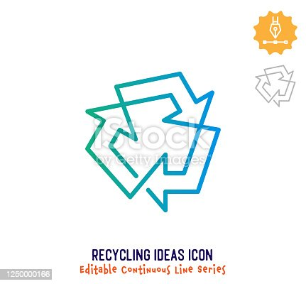 istock Recycling Ideas Continuous Line Editable Icon 1250000166