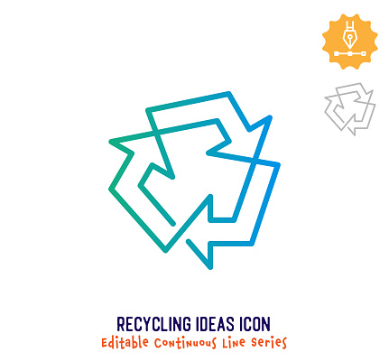 Recycling Ideas Continuous Line Editable Icon