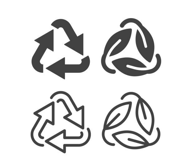illustrazioni stock, clip art, cartoni animati e icone di tendenza di recycling - illustration icons - composting