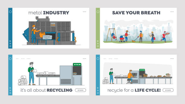 ilustraciones, imágenes clip art, dibujos animados e iconos de stock de conjunto de plantillas de página de aterrizaje de basura de hierro de reciclaje. máquina de control de trabajadores prensado de chatarra usada, reusepld basura - social media
