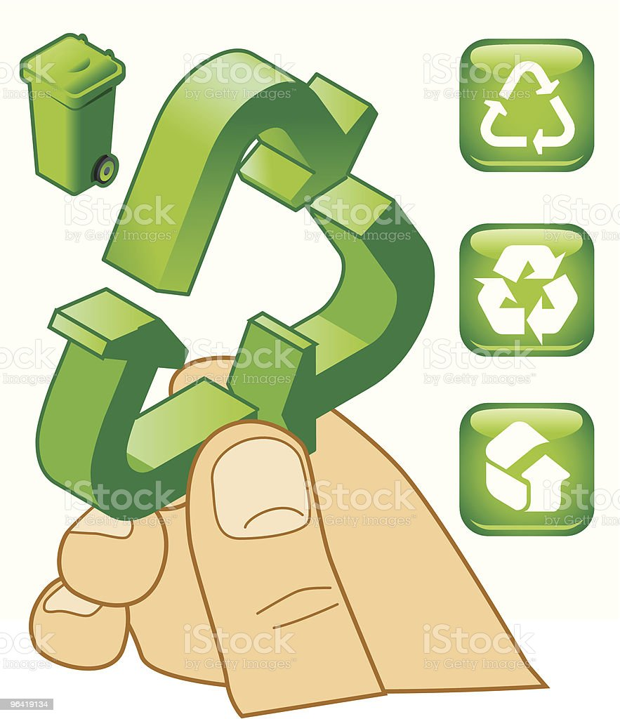 Recycling - It's in your hands royalty-free recycling its in your hands stock vector art & more images of close-up