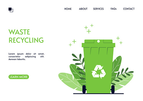 Recycling landing page. Green trash can on a background of leaves. Waste conversion and use of secondary raw materials. Landing page design. Vector illustration in a flat style.