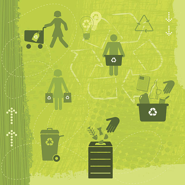 recycling lifestyle (green world series) - composting stock illustrations
