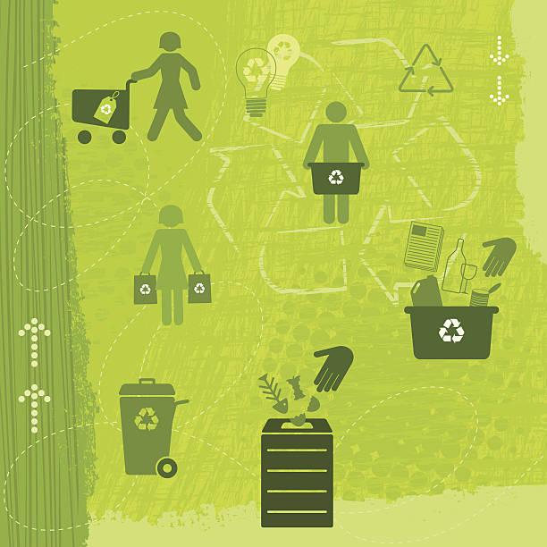illustrazioni stock, clip art, cartoni animati e icone di tendenza di riciclaggio lifestyle (verde serie di mondo - composting