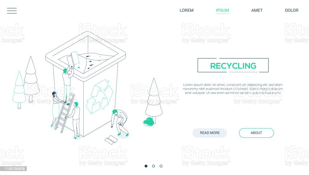 Recycling Line Design Style Isometric Web Banner Stock