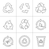Recycling line icons set